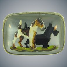 Marked sterling silver framed Essex glass terrier dogs Scatter Pin