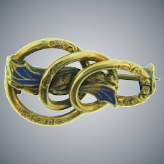 Vintage early rolled gold smaller Brooch with repousse design and blue enamel