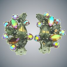 Vintage silver tone clip back Earrings with smoky and pink rhinestones