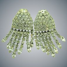Signed Weiss waterfall crystal rhinestones clip back Earrings