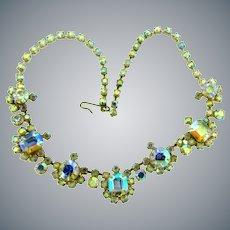 Vintage choker length 1960's AB rhinestone link Necklace
