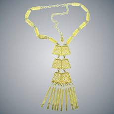 Vintage gold tone Egyptian Revival style dangling choker length Necklace