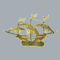 Vintage figural gold tone filigree wire Spanish galleon ship