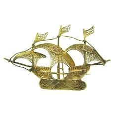 Vintage figural gold tone filigree wire Spanish galleon ship