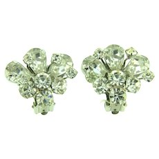 Signed Weiss crystal clip back Earrings
