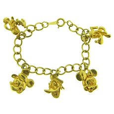 Marked Disney vintage souvenir gold tone charm Bracelet
