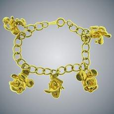 Marked Disney vintage souvenir gold tone charm Bracelet