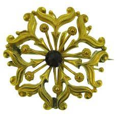 Vintage floral design gold tone Watch Pin with red paste stone