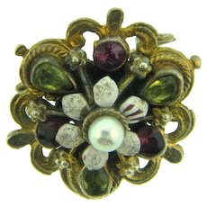 Vintage small floral Scatter Pin with pearl, enamel and paste stones