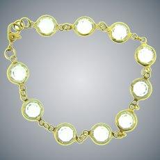 Vintage gold tone link Bracelet with Swarovski crystal faceted bezel set stones