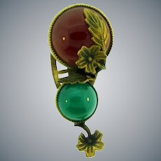 Vintage gold tone floral Dress Clip with carnelian and green glass cabochons