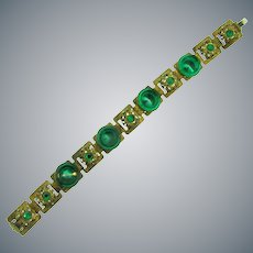 Vintage gold tone link Bracelet with green rhinestone and unusual green glass disks