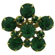 Vintage small Brooch with emerald green rhinestones