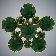 Vintage small Brooch with emerald green rhinestones
