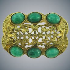 Lovely vintage gold tone Brooch with peking glass cabochons