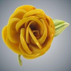 Vintage large celluloid figural rose flower Brooch