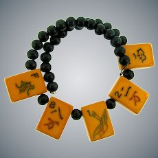 Vintage memory wire Necklace with Bakelite Mah Jong tiles and wooden beads