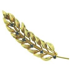 Signed Danecraft 1/20 12 kt gold filled leaf Brooch with genuine sapphire stones