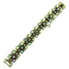 Signed Florenza book link Bracelet with AB and crystal rhinestones