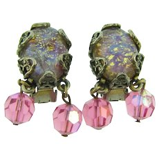 Signed Hollycraft clip back Earrings with faux dragon's breath stones and pink crystal beads