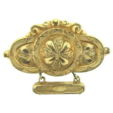 Vintage early 1900's Brooch with chased design and dangle