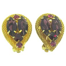 Vintage gold tone mesh clip back Earrings with purple, red and pink rhinestones