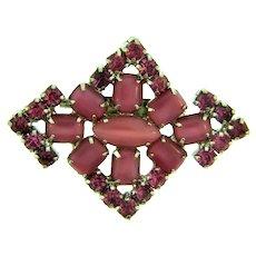 Vintage rhinestone Brooch in pink hues