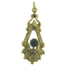 Vintage gold tone Pendant with black rhinestones