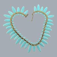 Signed Matisse Nefertite choker copper Necklace with light blue speckled enamel links