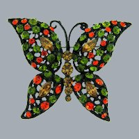 Vintage large figural butterfly Brooch with olivine, orange, and topaz rhinestones