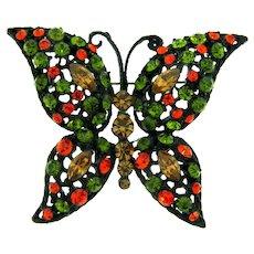 Vintage large figural butterfly Brooch with olivine, orange, and topaz rhinestones