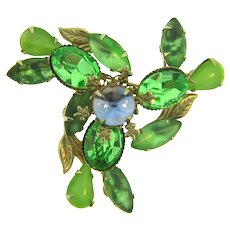 Signed Cathe gold tone Brooch with lavender and green rhinestones