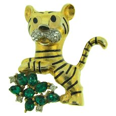 Signed Jomaz figural tiger Brooch with emerald and crystal rhinestones
