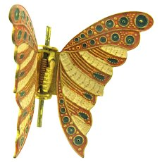 Marked Spain figural enamel butterfly Pin