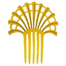 Vintage celluloid large Hair Comb with amber rhinestones