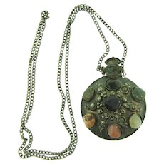 Vintage mid Eastern scent bottle pendant Necklace with semi precious stones