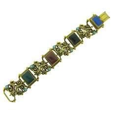 Vintage book link chunky Bracelet with multicolored glass tiles, imitation pearls and turquoise colored beads