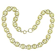 Vintage gold tone link choker length Necklace with caged imitation pearls