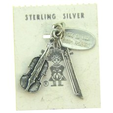 Vintage NOS sterling silver fiddle Charm from Maisel's Trading Post Albuquerque, New Mexico