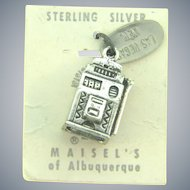 Vintage NOS sterling silver slot machine Las Vegas Charm from Maisel's Trading Post
