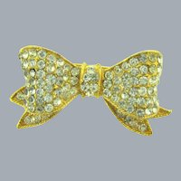 Vintage gold tone bow Brooch with crystal rhinestones