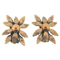 Signed Renoir vintage floral copper clip back Earrings