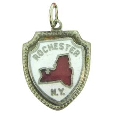 Vintage NOS sterling silver enamel Charm of Rochester, NY