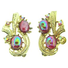 Vintage clip back 1960's Earrings with iridescent red cabochons and AB rhinestones