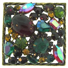Vintage square Brooch with various shades and sizes of rhinestones and cabochons
