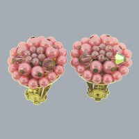 Marked Japan 1950's clip back Earrings with pink beads