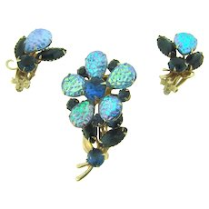 Vintage gorgeous flower Brooch and matching clip back Earrings with rhinestones and iridescent lava stones