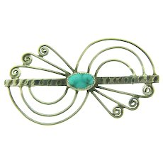 Vintage Southwestern style sterling silver Brooch with turquoise stone