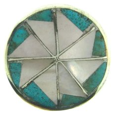 Vintage sterling silver button Brooch with MOP and inlaid turquoise