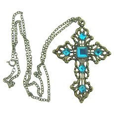 Vintage silver tone chain Necklace with large Cross Pendant with turquoise Lucite stones